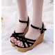 Women Fish Mouth Slope Black Thick Bottom Wedge Sandals S-42BK