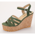 Women Fish Mouth Slope Green Thick Bottom Wedge Sandals S-42GN