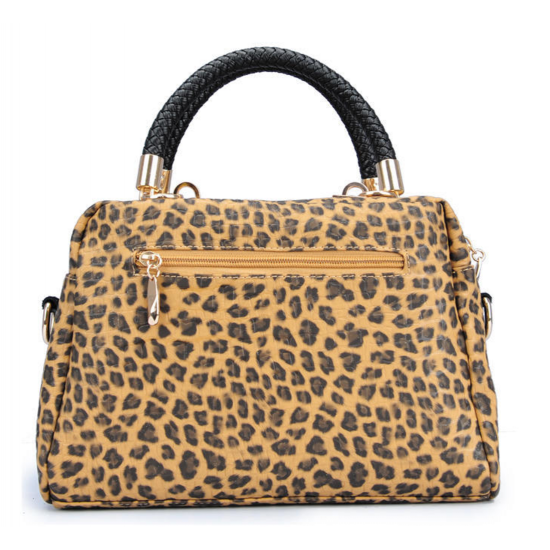 Women Black Shining Leopard Pattern Cloth Satchel Bag WB-16 image