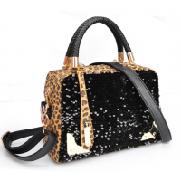 Women Black Shining Leopard Pattern Cloth Satchel Bag WB-16