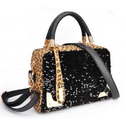 Women Black Shining Leopard Pattern Cloth Satchel Bag WB-16
