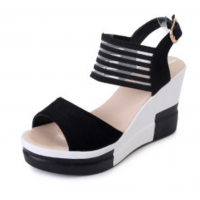 Women Korean Fashion Black High Wedge Sandals S-41BK
