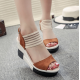 Women Korean Fashion Brown High Wedge Sandals S-41BR image