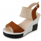 Women Korean Fashion Brown High Wedge Sandals S-41BR