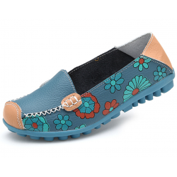 Women Blue Casual Comfortable Soft Mom Shoes Loafer Flats S-37BL