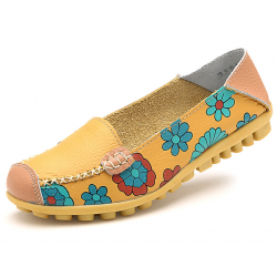 Women Yellow Casual Comfortable Soft Mom Shoes Loafer Flats S-37Y