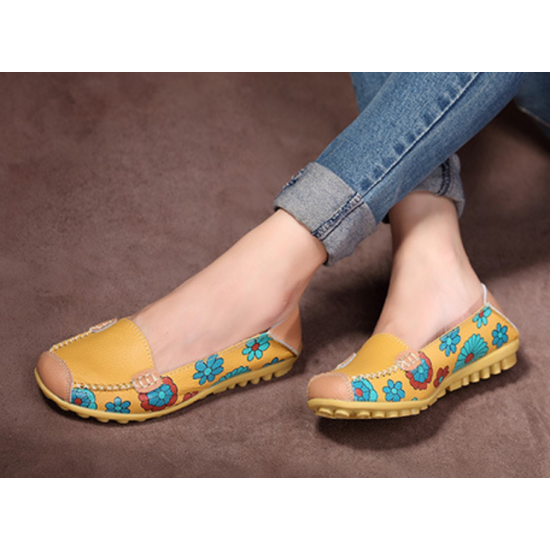 Women Yellow Casual Comfortable Soft Mom Shoes Loafer Flats S-37Y image