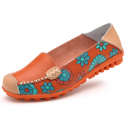 Women Orange Casual Comfortable Soft Mom Shoes Loafer Flats S-37OR