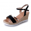 Women Summer Fashion Black High Wedge Sandals S-39BK