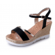 Women Summer Fashion Black High Wedge Sandals S-39BK