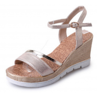 Women Summer Fashion Beige Gold High Wedge Sandals S-39G