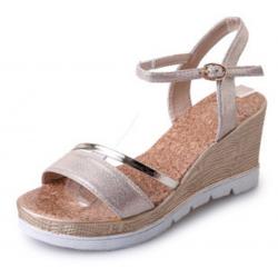 Women Summer Fashion Beige Gold High Wedge Sandals S-39G
