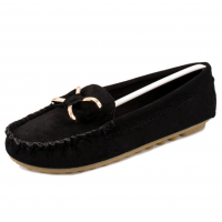 Women Butterfly Fashion Clip Black Suede Comfortable Flats Shoes S-48BK