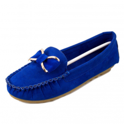 Women Butterfly Fashion Clip Blue Suede Comfortable Flats Shoes S-48BL