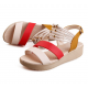 Women Fashion Beads Red Thick Sole Sandals S-49RD