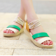 Women Fashion Beads Green Thick Sole Sandals S-49GN