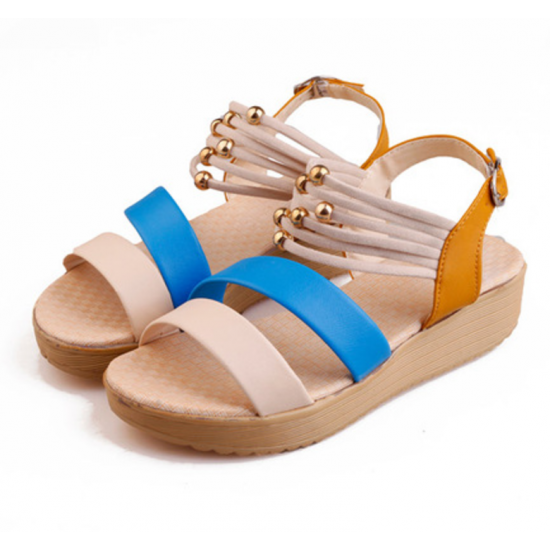 Women Fashion Beads Blue Thick Sole Sandals S-49BL