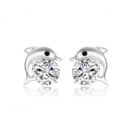 Woman Fashion Zircon Dolphin Earrings  E-14S