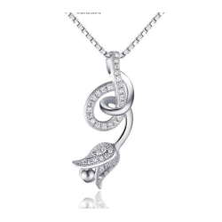 Woman Fashion Silver Hanging Rose Design Pendant N-01S