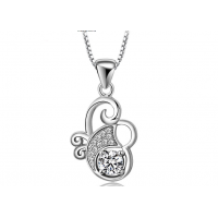 Woman Flower Style With Multi Diamonds Pendant N-02S