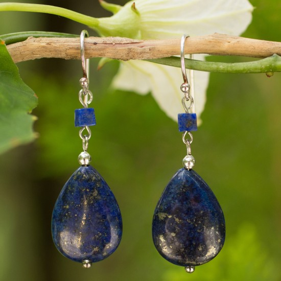 Blue Lily Lapis Lazuli Dangle Earrings ANDE 1