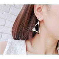 Woman Fashion Gold Double Triangular Braided Zircon Earrings  E-16G