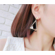 Woman Fashion Gold Double Triangular Braided Zircon Earrings  E-16G