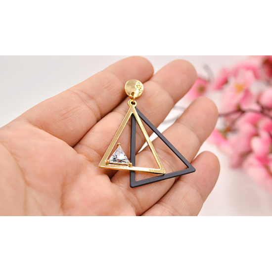 Woman Fashion Gold Double Triangular Braided Zircon Earrings E-16G image