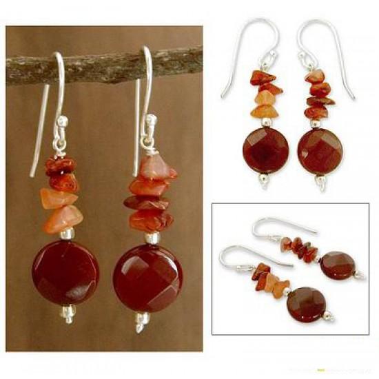 Brown Carnelian Dangle Earrings ANDS -02