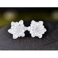 Woman Fashion Original Design  Wind Flower Silver Pin Earrings   E-18W
