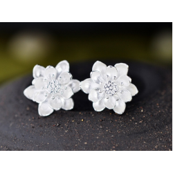 Woman Fashion Original Design  Wind Flower Silver Pin Earrings   E-18W