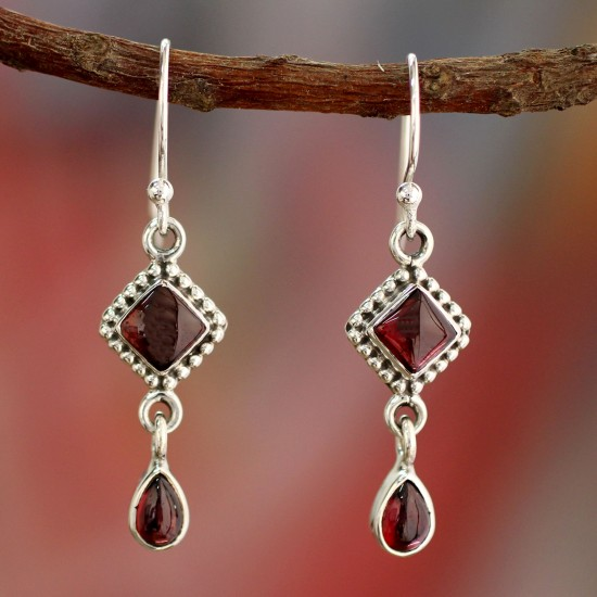 Dark Red Fire of Love Natural Garnet and Sterling Silver Earrings Indian Jewelry Earrings-06