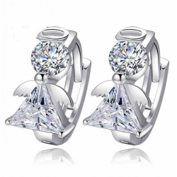 Woman Fashion Small Silver Earrings Crystal Manufacturers   E-21S