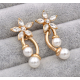 Women Fashion Paragraph Flower with Hanging Peal Earrings E-02G