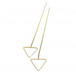 Woman Fashion Gold Long Hanging Triangle Earrings  E-03G