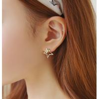 Woman Gold Star Style Luxury Diamond Earrings E-06G