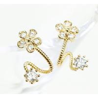 Woman Gold Sweet Diamond Flowers Earrings E-07G