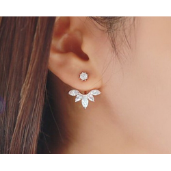 Woman Gold Crystal Rhinestone Ear Stud Earrings E-08G