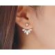 Woman Gold Crystal Rhinestone Ear Stud Earrings E-08G
