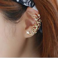 Women Butterfly U Shaped Gold Ear Clip E-09G