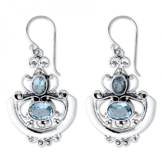 Handcrafted Blue Topaz Balinese Goddess  Earrings ANDE-08