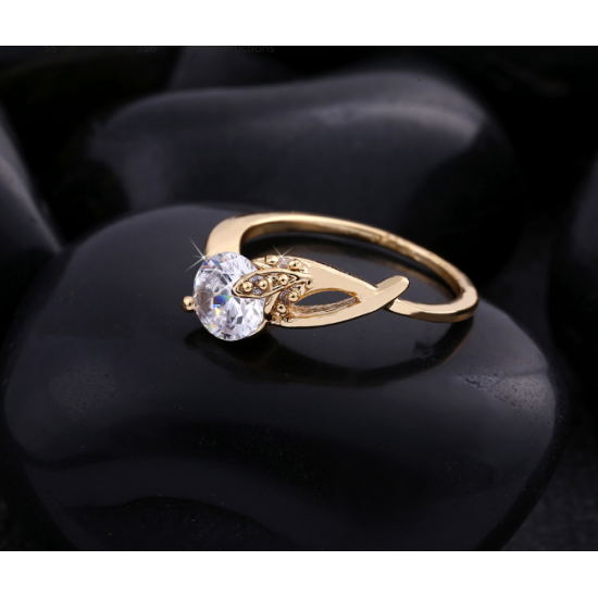 Woman White Crystal Gold Plated Ring  R-07G