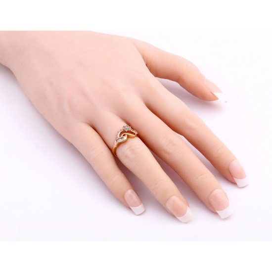 Woman Fashion 18K Gold Zircon Rings R-08G image