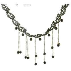 Women Small Beads Tassel Retro Lock bone Necklace  N-06B