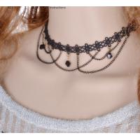 Women Black Lace Paragraph Style Tessel Necklace  N-07 (Black)