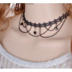Women Black Lace Paragraph Style Tessel Necklace  N-07 (Black)