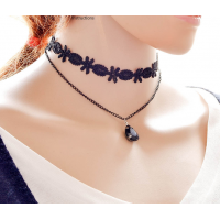 Women Lace Necklace With Gemstone Pendant N-10 (Black)