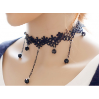 Women Fashion Retro Lace and Water Droplets Necklace  N-11 (Black)