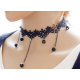 Women Fashion Retro Lace and Water Droplets Necklace N-11 (Black) image
