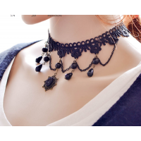 Women Handmade Ornaments Exaggerated Lace Necklace  N-12 (Black)